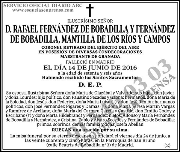 Rafael Fernández Bobadilla y Fernández de Bobadilla, Mantilla de los Ríos y Campos